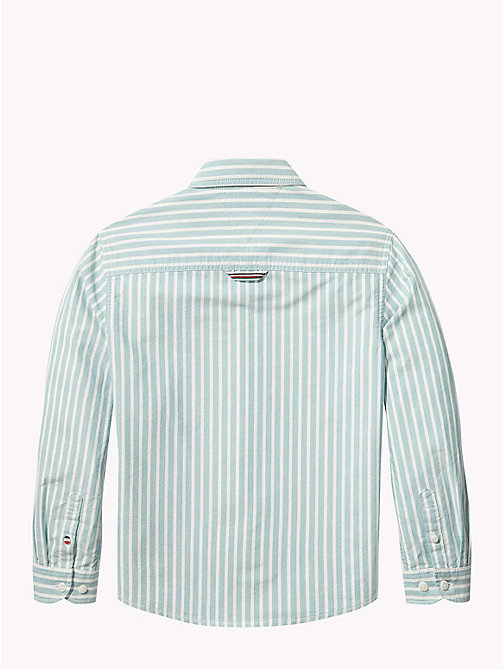 TOMMY HILFIGER Stripe Oxford Cotton Shirt - GREEN-BLUE SLATE/BRIGHT WHITE - TOMMY HILFIGER Boys - detail image 1
