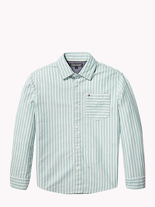 TOMMY HILFIGER Stripe Oxford Cotton Shirt - GREEN-BLUE SLATE/BRIGHT WHITE - TOMMY HILFIGER Boys - main image