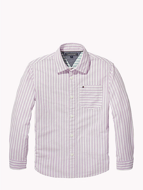 TOMMY HILFIGER Stripe Oxford Cotton Shirt - BODACIOUS/BRIGHT WHITE - TOMMY HILFIGER Boys - detail image 1