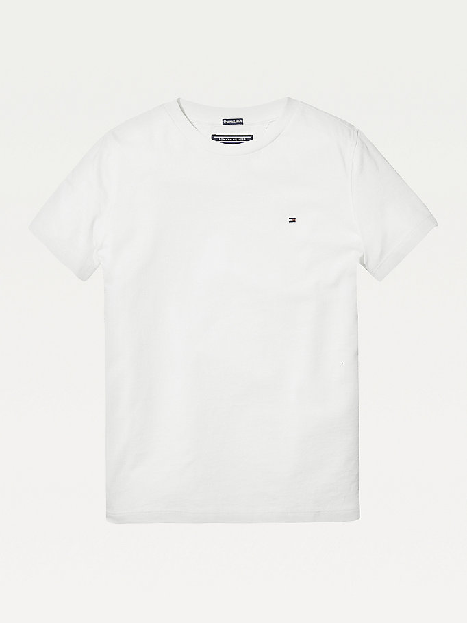white essential organic cotton t-shirt for boys tommy hilfiger