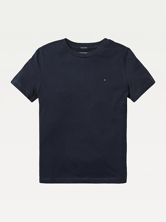 blue essential organic cotton t-shirt for boys tommy hilfiger