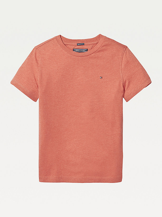 red essential organic cotton t-shirt for boys tommy hilfiger