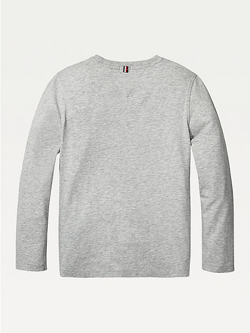TOMMY HILFIGER Long-Sleeve Organic Cotton T-Shirt - GREY HEATHER - TOMMY HILFIGER T-shirts & Polos - detail image 1
