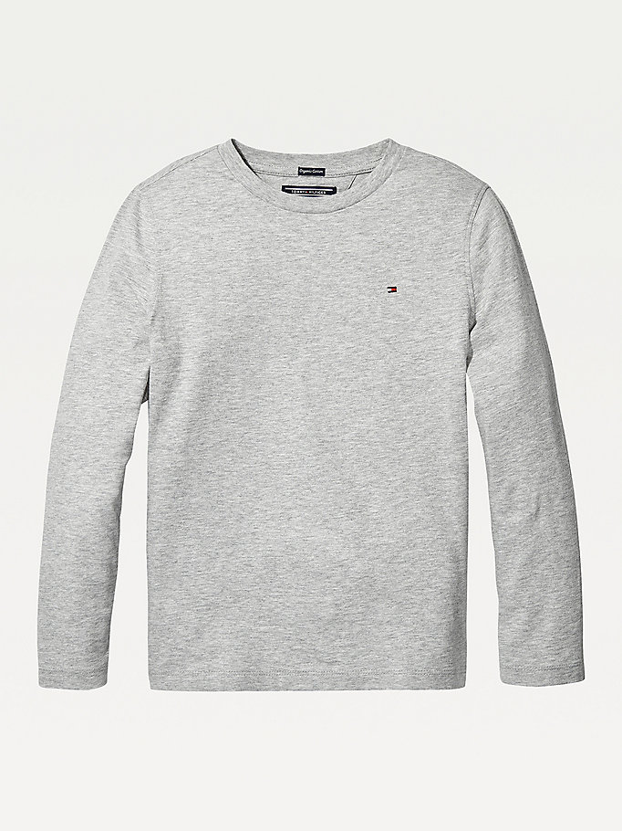 grey long-sleeve organic cotton t-shirt for boys tommy hilfiger