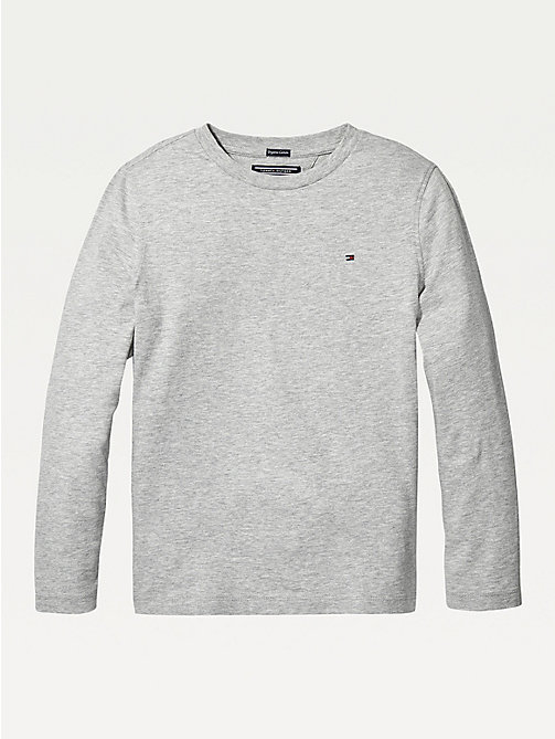 TOMMY HILFIGER Long-Sleeve Organic Cotton T-Shirt - GREY HEATHER - TOMMY HILFIGER T-shirts & Polos - main image