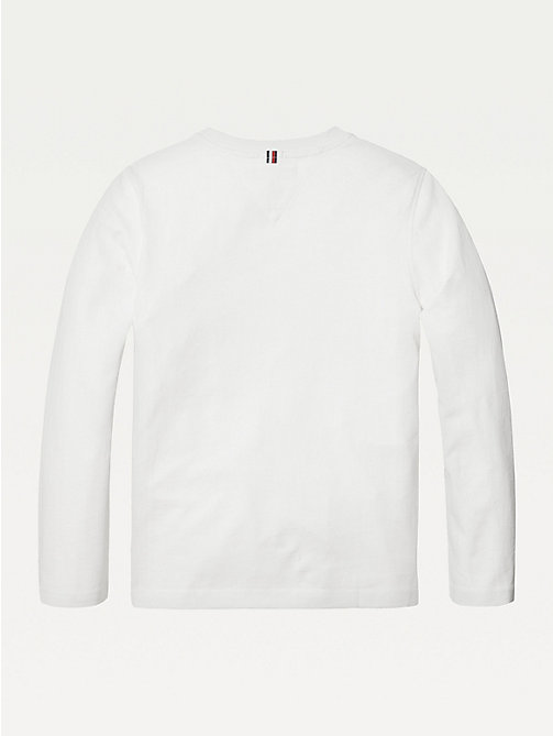 TOMMY HILFIGER Long-Sleeve Organic Cotton T-Shirt - BRIGHT WHITE - TOMMY HILFIGER T-shirts & Polos - detail image 1