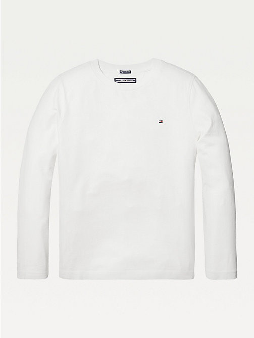 TOMMY HILFIGER Long-Sleeve Organic Cotton T-Shirt - BRIGHT WHITE - TOMMY HILFIGER Tops & T-shirts - main image