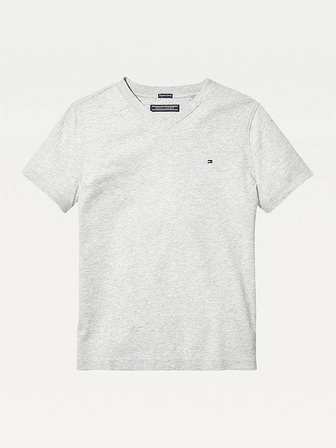 TOMMY HILFIGER Organic Cotton V-Neck T-Shirt - BRIGHT WHITE - TOMMY HILFIGER Kids - main image