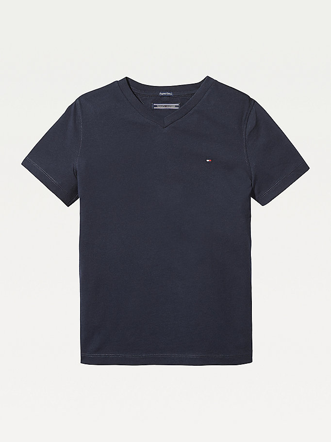 TOMMY HILFIGER Organic Cotton V-Neck T-Shirt - METEORITE - TOMMY HILFIGER Kids - main image