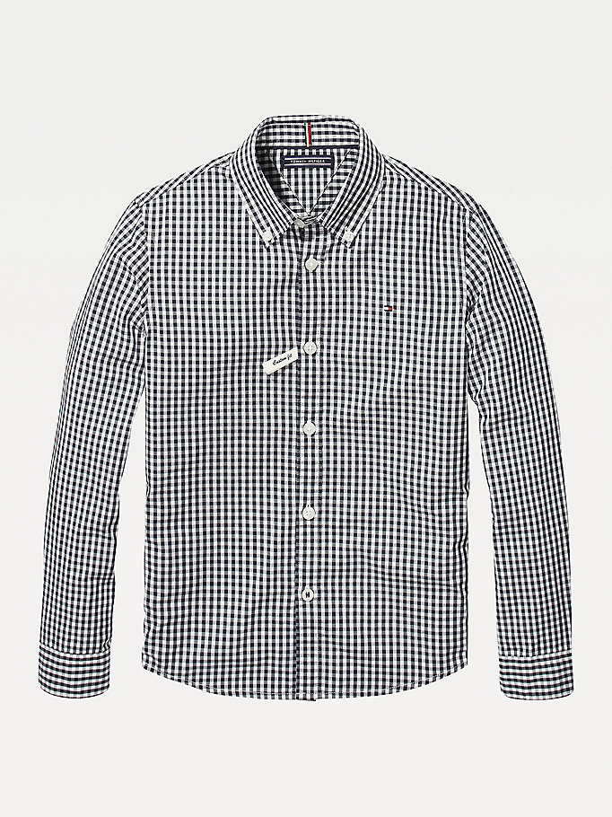 blue long sleeve gingham shirt for boys tommy hilfiger