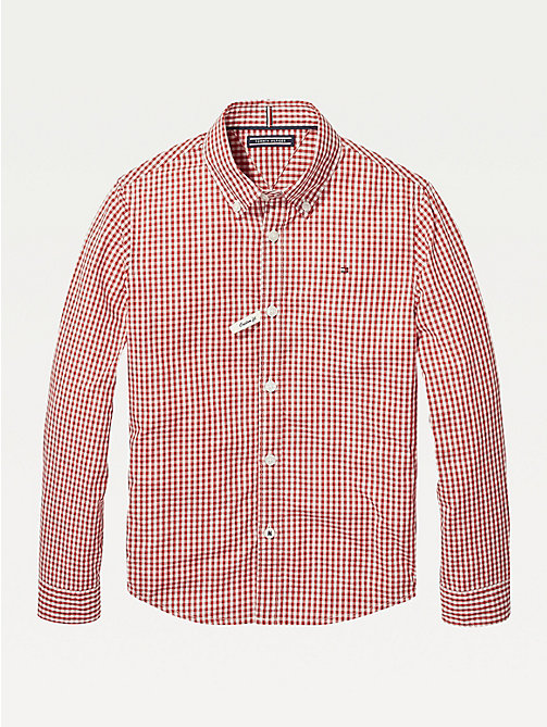 TOMMY HILFIGER Long Sleeve Gingham Shirt - APPLE RED - TOMMY HILFIGER Shirts - main image