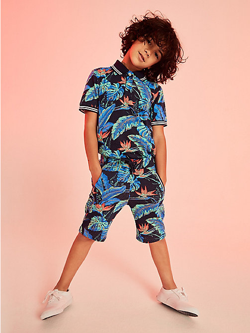 TOMMY HILFIGER Tropical Print Mesh Shorts - BLACK IRIS / MULTI -  Boys - main image