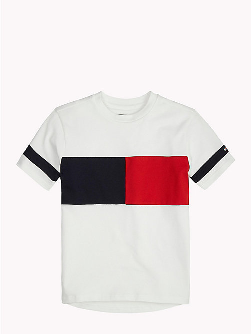 TOMMY HILFIGER SPORTS FLAG OVERSIZED KNIT S/S - CLASSIC WHITE / MULTI - TOMMY HILFIGER Sports Capsule - main image