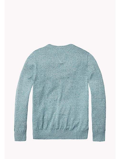 TOMMY HILFIGER Cotton Crew Neck Jumper - GREEN-BLUE SLATE - TOMMY HILFIGER Knitwear - detail image 1