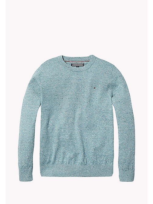 TOMMY HILFIGER Cotton Crew Neck Jumper - GREEN-BLUE SLATE - TOMMY HILFIGER Knitwear - main image