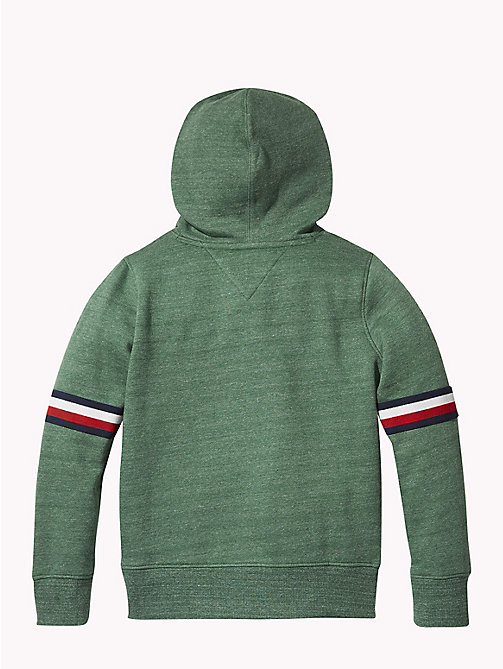 TOMMY HILFIGER Signature Sleeve Hoody - HUNTER GREEN MELANGE - TOMMY HILFIGER Sweatshirts & Hoodies - detail image 1