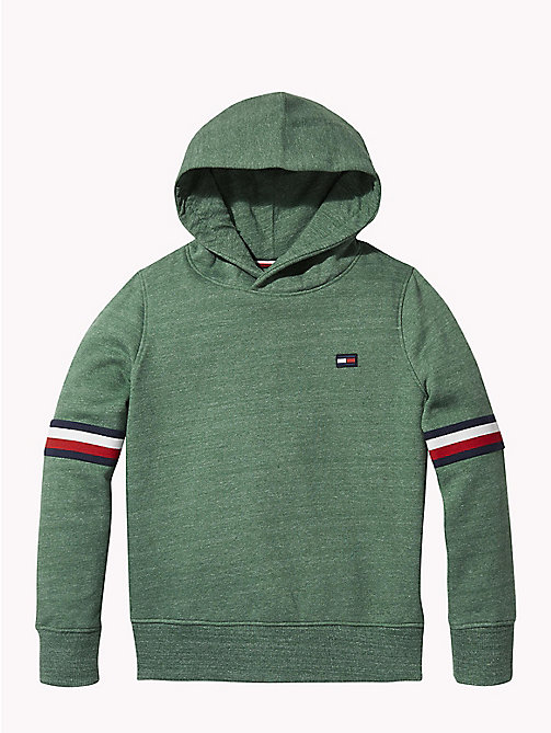 TOMMY HILFIGER Signature Sleeve Hoody - HUNTER GREEN MELANGE - TOMMY HILFIGER Sweatshirts & Hoodies - main image