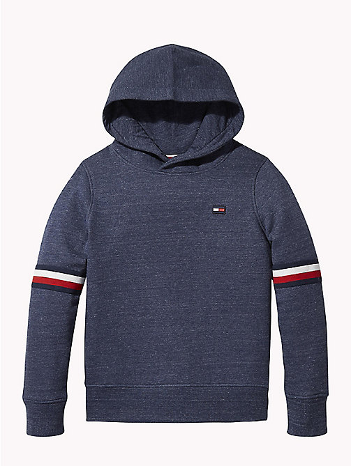 TOMMY HILFIGER Signature Sleeve Hoody - BLACK IRIS HEATHER - TOMMY HILFIGER Sweatshirts & Hoodies - main image
