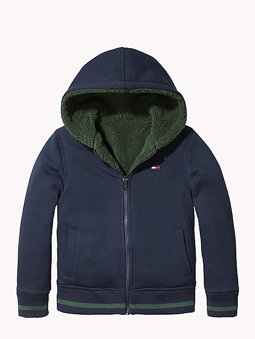 TOMMY HILFIGER Reversible Hooded Fleece Jacket - BLACK IRIS - TOMMY HILFIGER Sweatshirts & Hoodies - main image