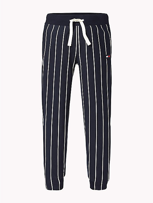TOMMY HILFIGER Stripe Drawstring Joggers - BLACK IRIS / BRIGHT WHITE - TOMMY HILFIGER Trousers & Shorts - main image