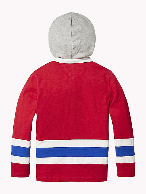 TOMMY HILFIGER Colour-Blocked Rugby Hoody - APPLE RED - TOMMY HILFIGER T-shirts & Polos - detail image 1