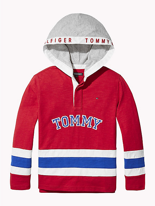 TOMMY HILFIGER Colour-Blocked Rugby Hoody - APPLE RED - TOMMY HILFIGER T-shirts & Polos - main image