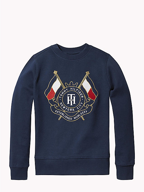 TOMMY HILFIGER Tommy Hilfiger Embroidered Logo Sweatshirt - BLACK IRIS - TOMMY HILFIGER Sweatshirts & Hoodies - main image