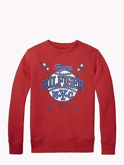 TOMMY HILFIGER Felpa baseball - APPLE RED -  Felpe - immagine principale