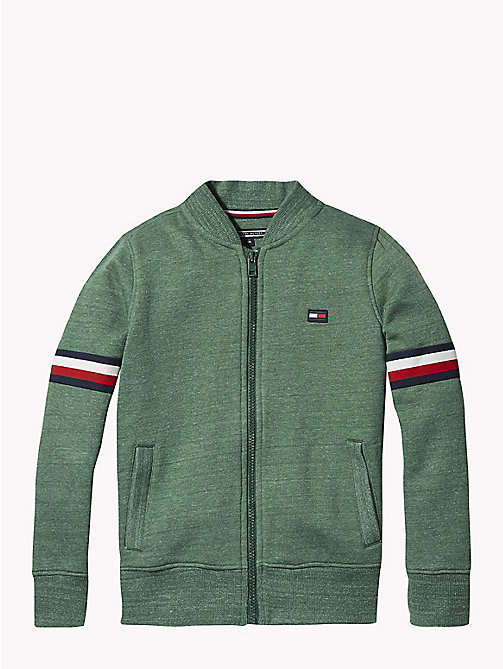 TOMMY HILFIGER Signature Zip Sweatshirt - HUNTER GREEN MELANGE - TOMMY HILFIGER Sweatshirts & Hoodies - main image