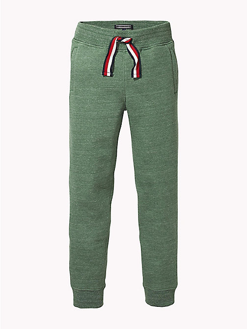 TOMMY HILFIGER Signature Drawstring Cuffed Joggers - HUNTER GREEN MELANGE - TOMMY HILFIGER Trousers & Shorts - main image