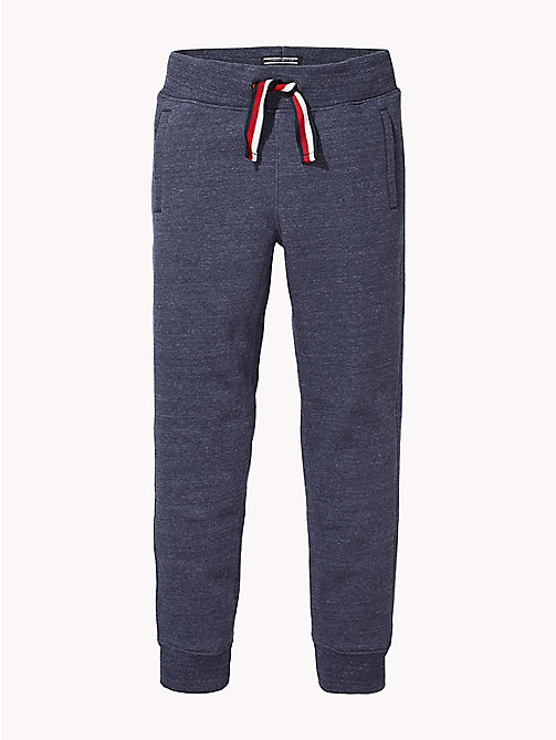 TOMMY HILFIGER Signature Drawstring Cuffed Joggers - BLACK IRIS HEATHER - TOMMY HILFIGER Trousers & Shorts - main image