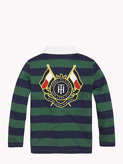 TOMMY HILFIGER Stripe Crest Rugby Shirt - HUNTER GREEN/BLACK IRIS - TOMMY HILFIGER T-shirts & Polos - detail image 1
