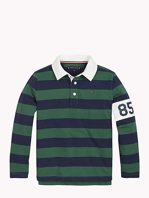 TOMMY HILFIGER Stripe Crest Rugby Shirt - HUNTER GREEN/BLACK IRIS - TOMMY HILFIGER T-shirts & Polos - main image