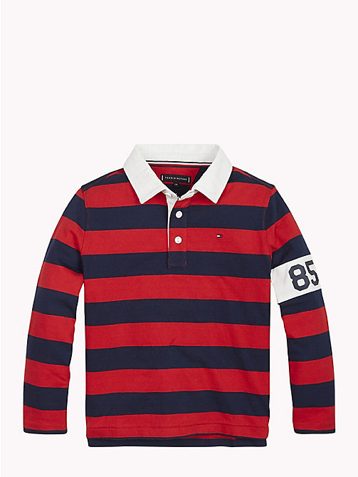 TOMMY HILFIGER Stripe Crest Rugby Shirt - APPLE RED/BLACK IRIS - TOMMY HILFIGER T-shirts & Polos - main image