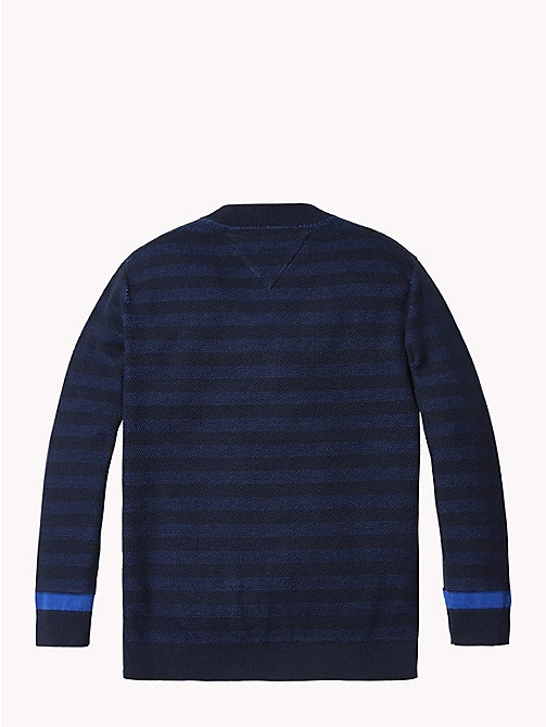 TOMMY HILFIGER Raised Monogram Stripe Cardigan - BLACK IRIS - TOMMY HILFIGER Knitwear - detail image 1