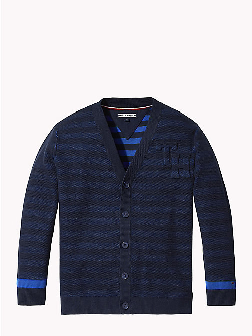 TOMMY HILFIGER Raised Monogram Stripe Cardigan - BLACK IRIS - TOMMY HILFIGER Knitwear - main image