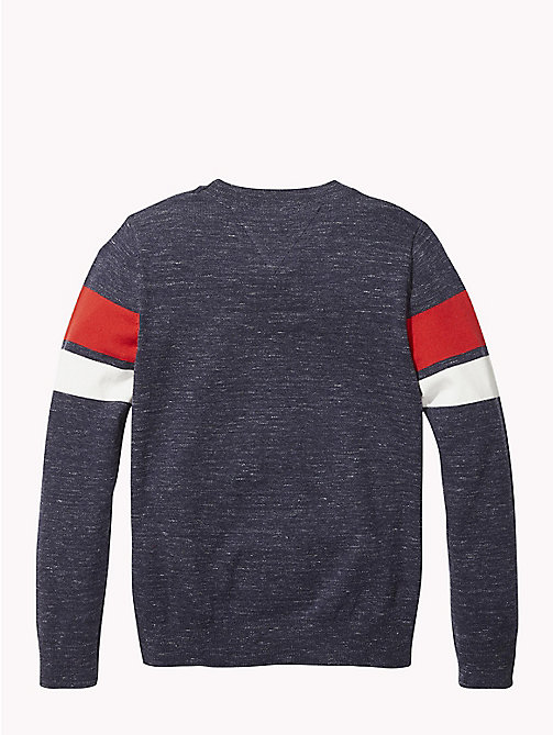 TOMMY HILFIGER Knitted Logo Stripe Jumper - BLACK IRIS - TOMMY HILFIGER Boys - detail image 1