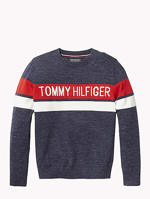 TOMMY HILFIGER Knitted Logo Stripe Jumper - BLACK IRIS - TOMMY HILFIGER Boys - main image
