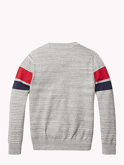TOMMY HILFIGER Knitted Logo Stripe Jumper - GREY HEATHER - TOMMY HILFIGER Knitwear - detail image 1