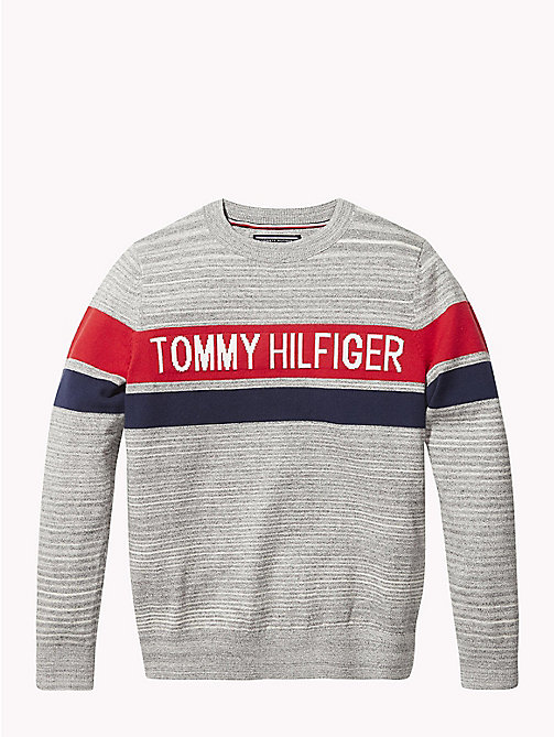 TOMMY HILFIGER Knitted Logo Stripe Jumper - GREY HEATHER - TOMMY HILFIGER Knitwear - main image