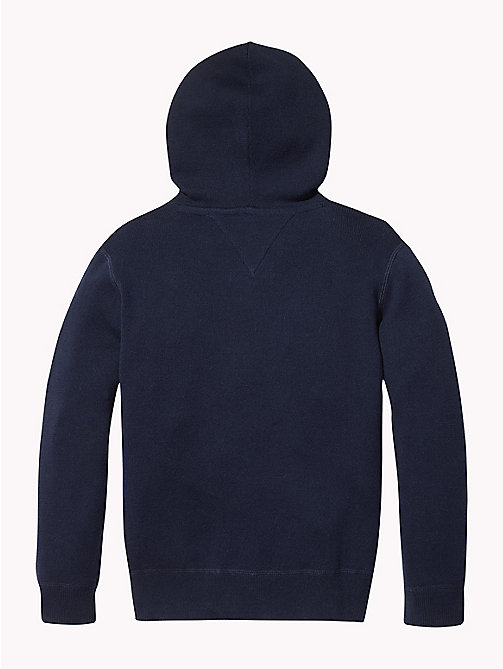 TOMMY HILFIGER Pure Cotton Logo Hoody - BLACK IRIS - TOMMY HILFIGER Knitwear - detail image 1