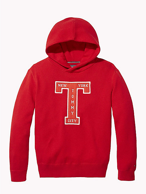 TOMMY HILFIGER Pure Cotton Logo Hoody - APPLE RED - TOMMY HILFIGER Knitwear - main image