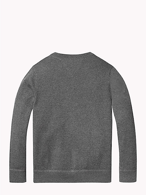 TOMMY HILFIGER Cotton Cashmere Crew Neck Jumper - DARK GREY HEATHER - TOMMY HILFIGER Knitwear - detail image 1