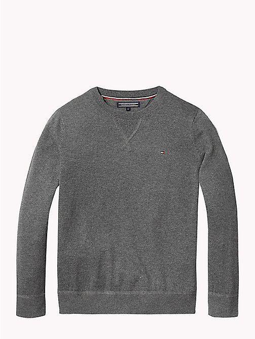 TOMMY HILFIGER Cotton Cashmere Crew Neck Jumper - DARK GREY HEATHER - TOMMY HILFIGER Knitwear - main image