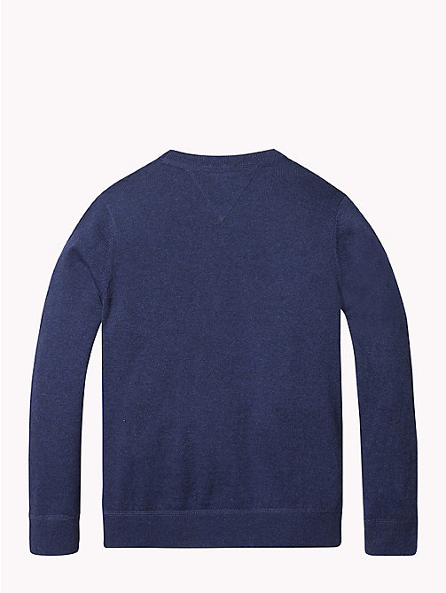 TOMMY HILFIGER Cotton Cashmere Crew Neck Jumper - BLACK IRIS HEATHER - TOMMY HILFIGER Knitwear - detail image 1