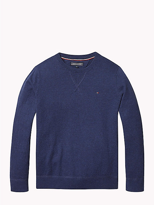 TOMMY HILFIGER Cotton Cashmere Crew Neck Jumper - BLACK IRIS HEATHER - TOMMY HILFIGER Knitwear - main image