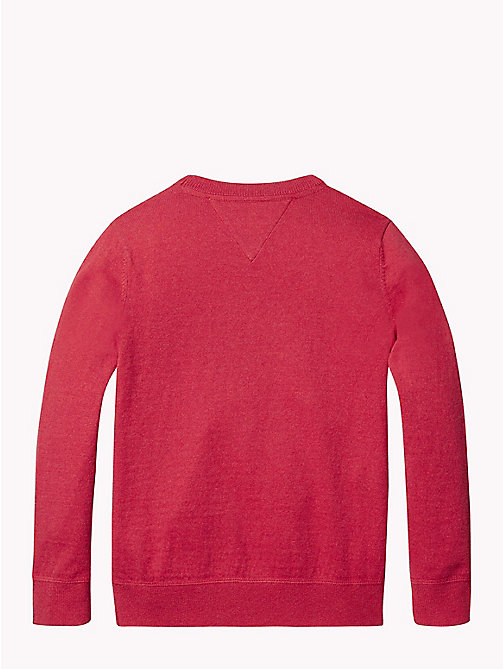 TOMMY HILFIGER Cotton Cashmere Crew Neck Jumper - APPLE RED MELANGE - TOMMY HILFIGER Knitwear - detail image 1