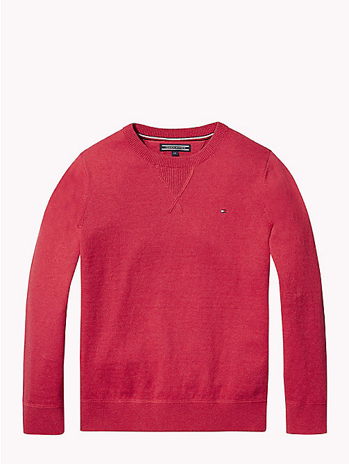 TOMMY HILFIGER Cotton Cashmere Crew Neck Jumper - APPLE RED MELANGE - TOMMY HILFIGER Knitwear - main image