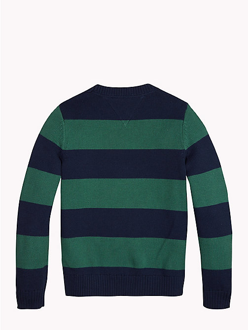 TOMMY HILFIGER Rugby Stripe Tommy Hilfiger Logo Jumper - BLACK IRIS/HUNTER GREEN - TOMMY HILFIGER Boys - detail image 1
