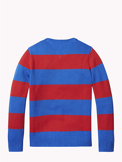 TOMMY HILFIGER Rugby Stripe Tommy Hilfiger Logo Jumper - OLYMPIAN BLUE/APPLE RED - TOMMY HILFIGER Knitwear - detail image 1